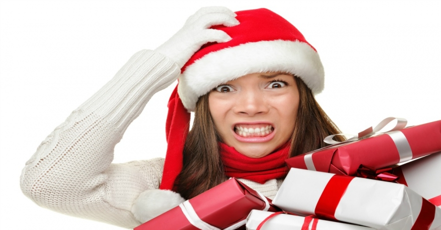 image of stressed woman at holiday time