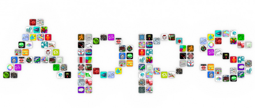 apps - the word written in app icons on white background