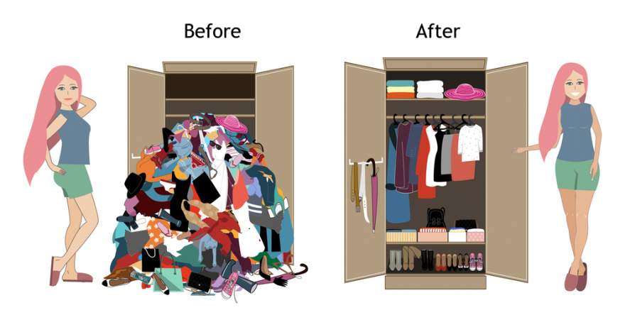 before tidy and after tidy wardrobe