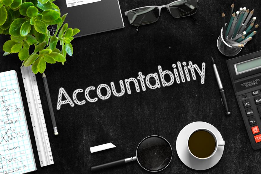 accountability written on a black chalkboard