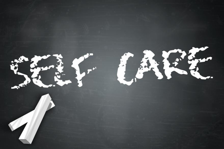 Blackboard with Self Care Wording
