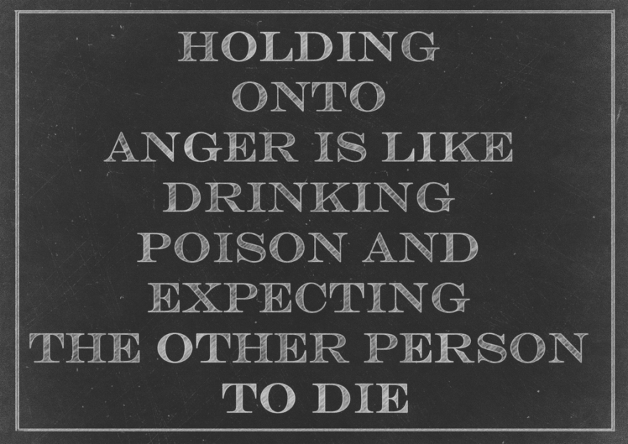 Chalk drawing:  holding onto anger