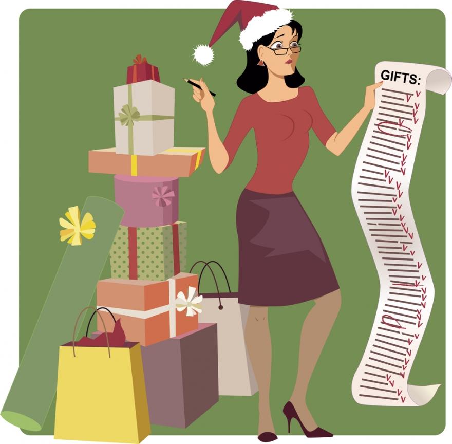 woman with Christmas check list