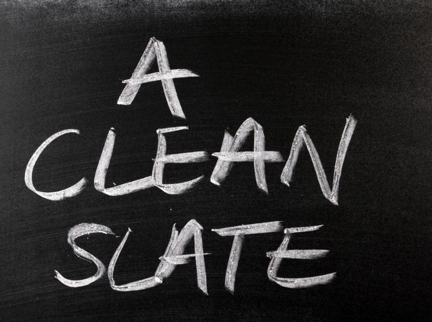 clean slate written on a chalkboard