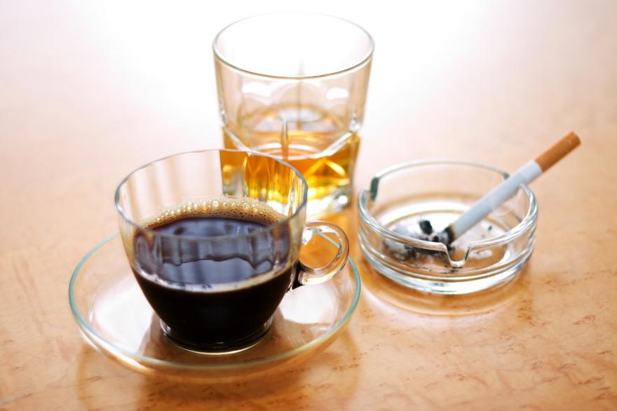 caffeine, alcohol, nicotine