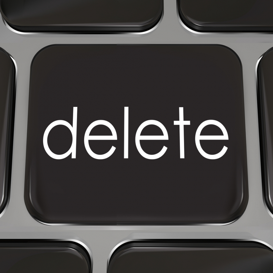 Delete key on a black computer keyboard