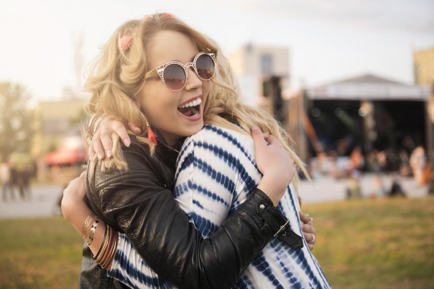 happy girls hugging