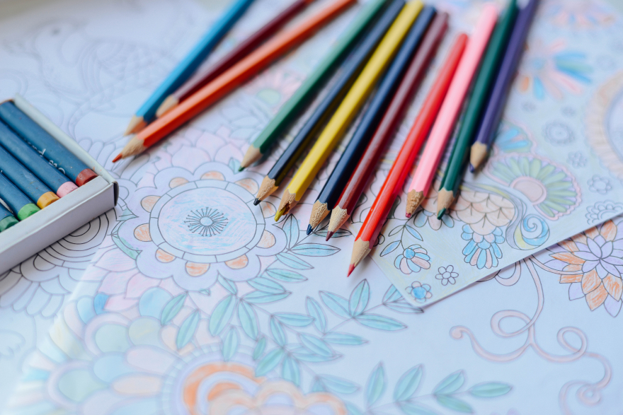 woman coloring for stress relief