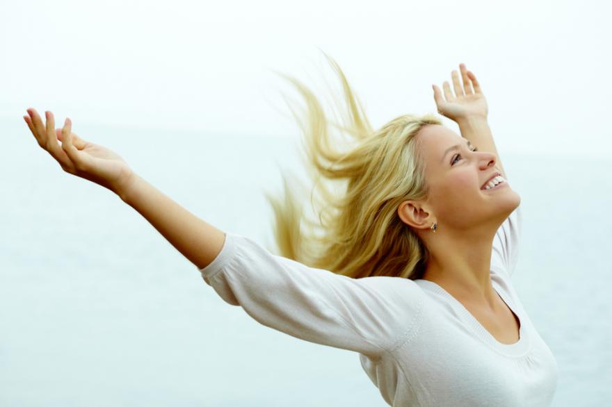 beautiful woman feeling joy and freedom