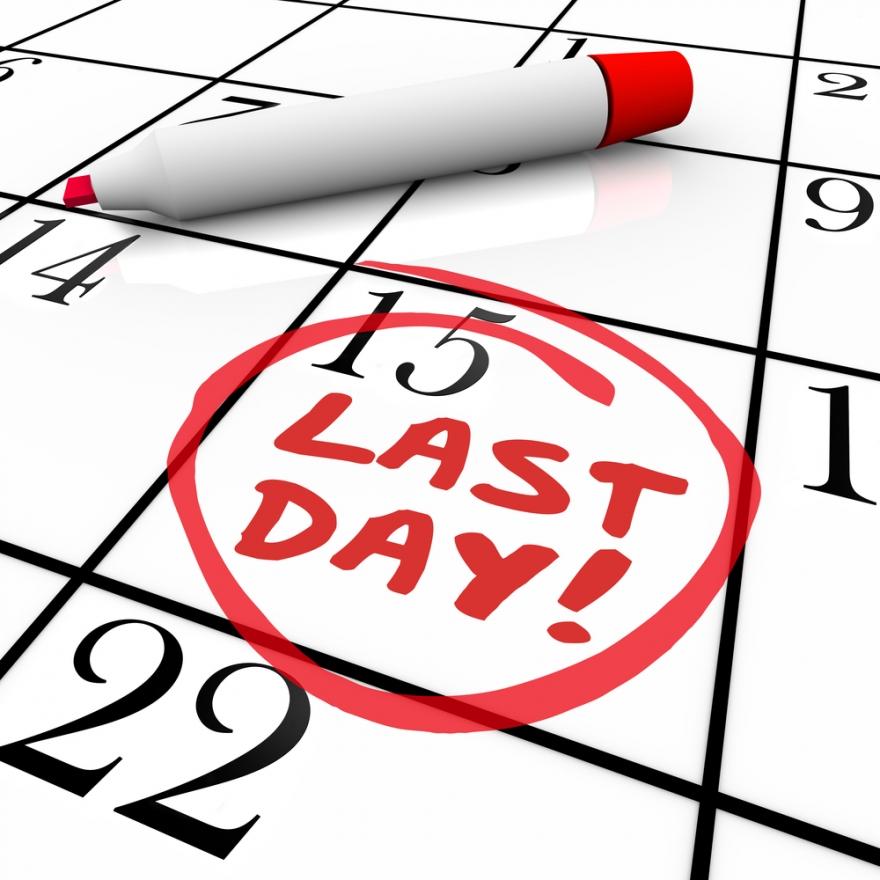 last day circled on a calendar