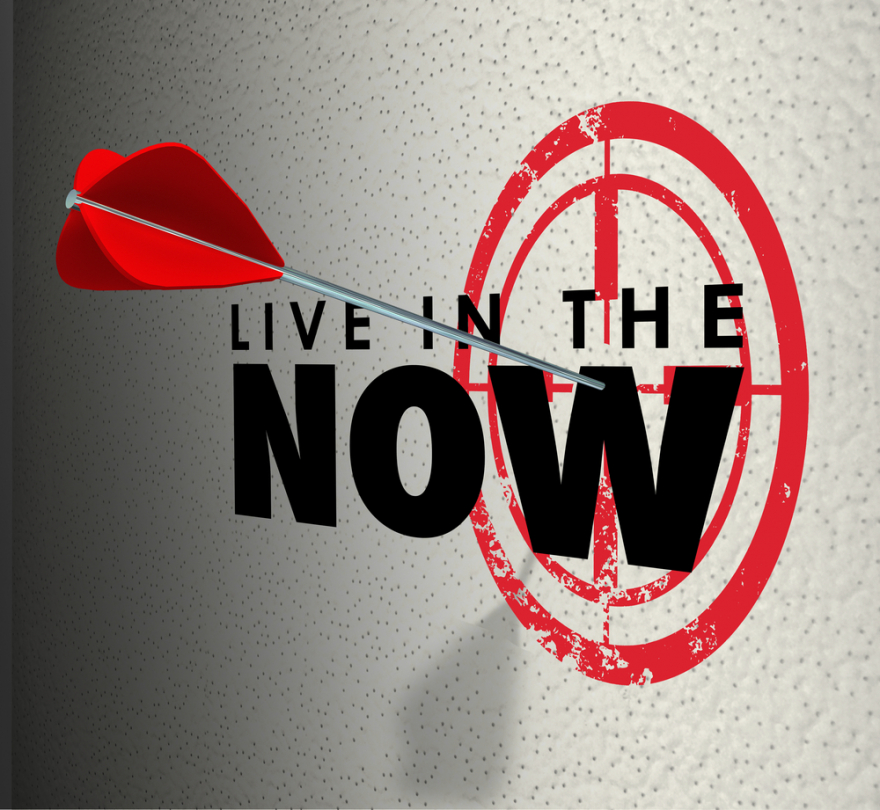 living in the now on a target wall
