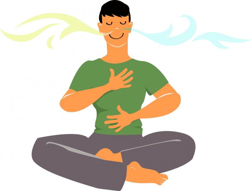 Man practicing breathing