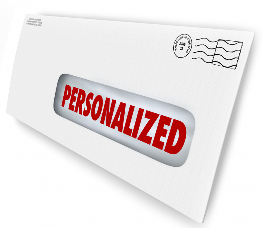 personalized word on a letter