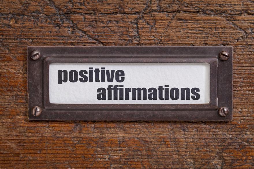 positive affirmation label on file cabinet