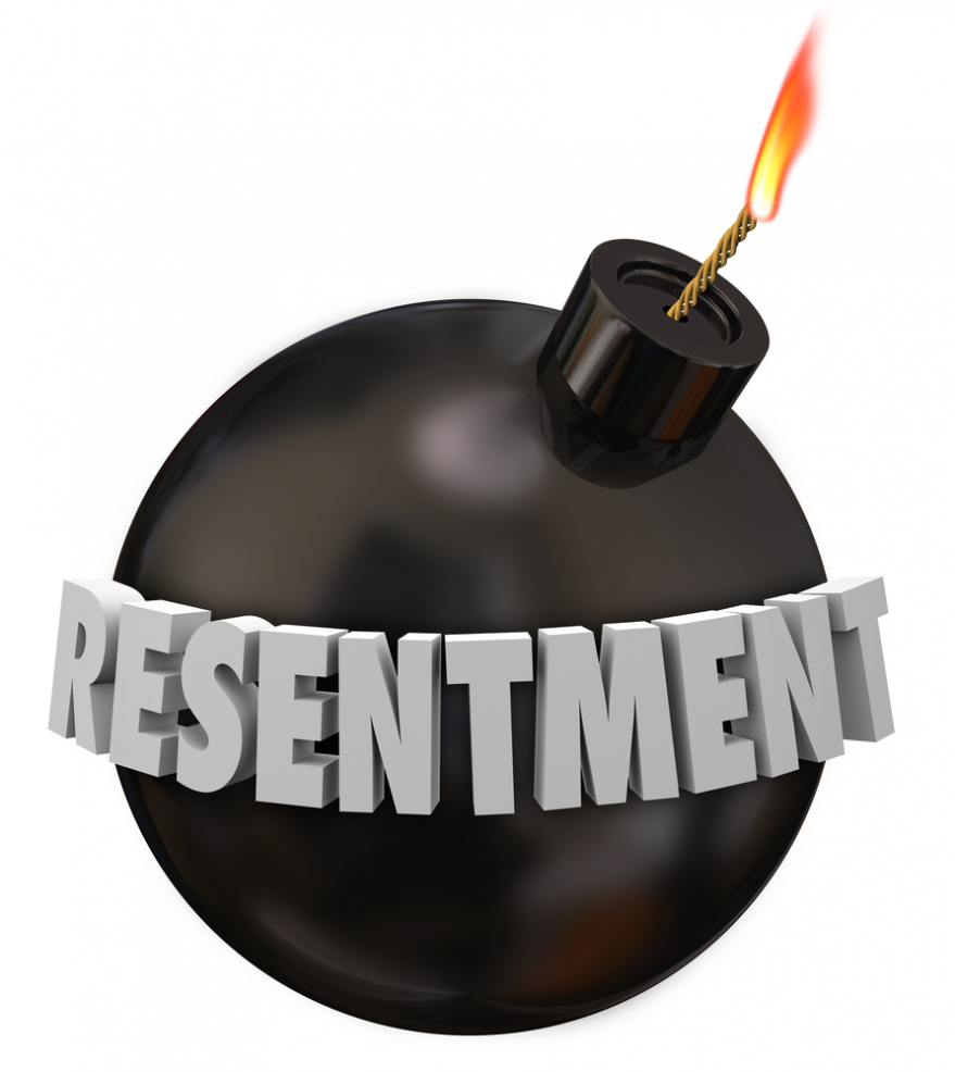 resentment 3d letters written on a round black bomb