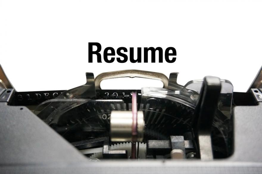 Resume on typewriter