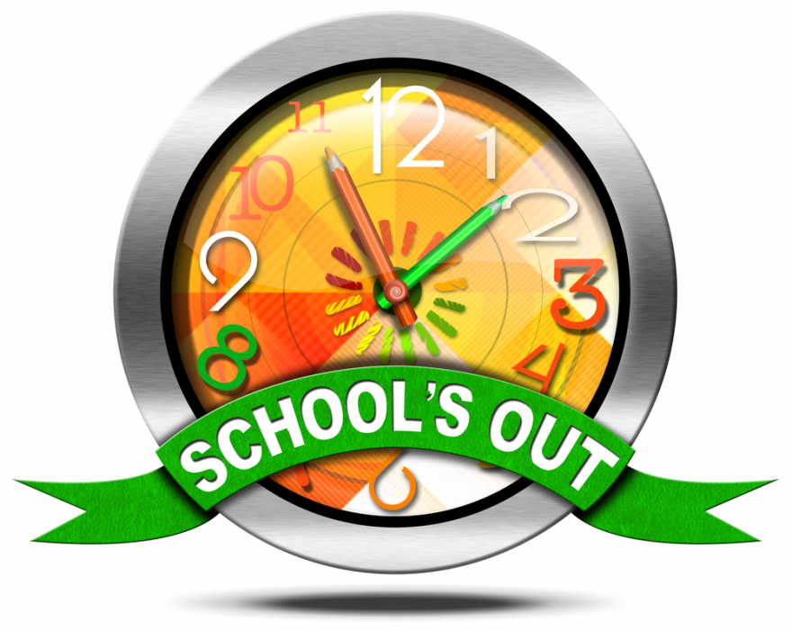 School's out metal on clock icon