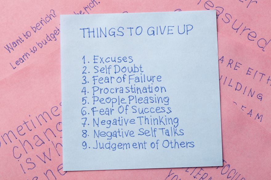 sticky note of words of things to give up