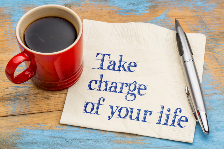 take charge of your life written on a napkin