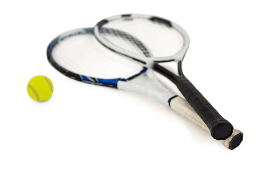 tennis ball and two rackets on a white background