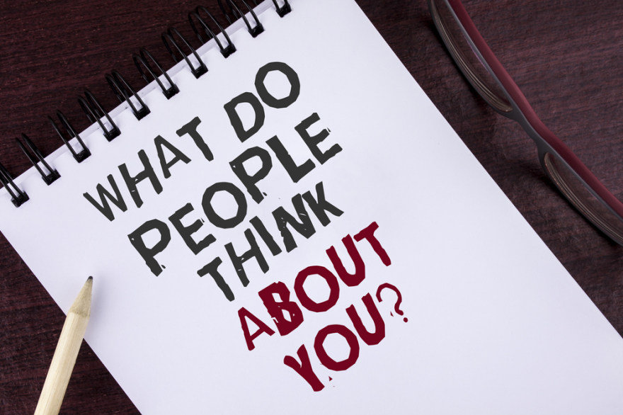 text sign with what do people think about you?