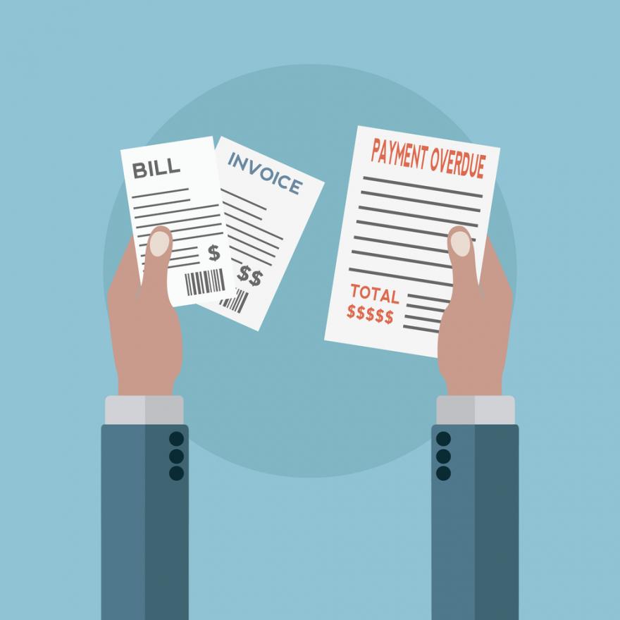 unpaid bills, overdue notices vector