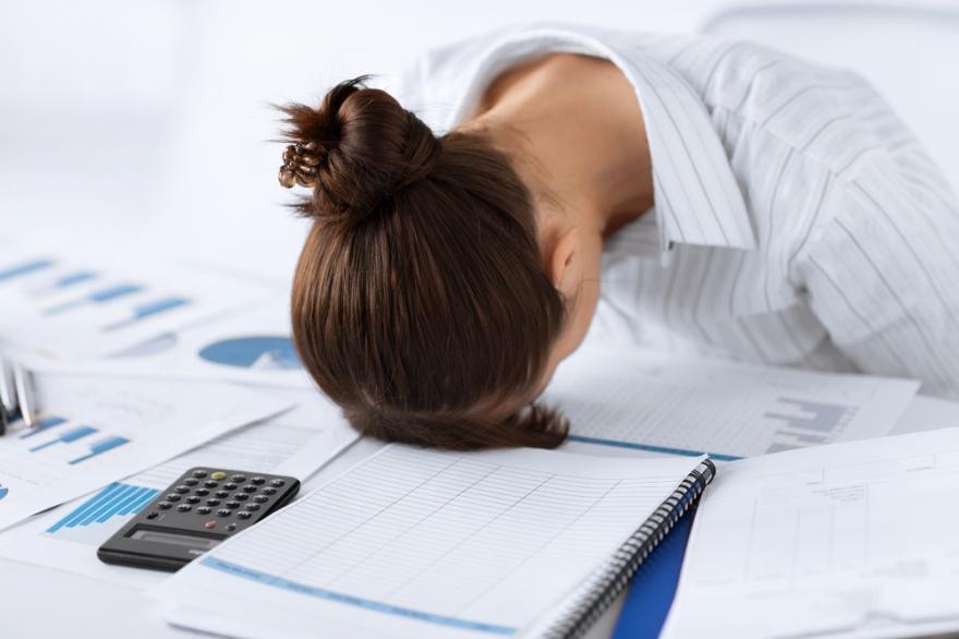 woman sleeping on the job