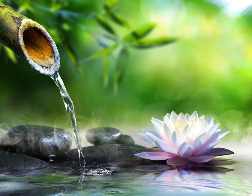 zen garden with running water