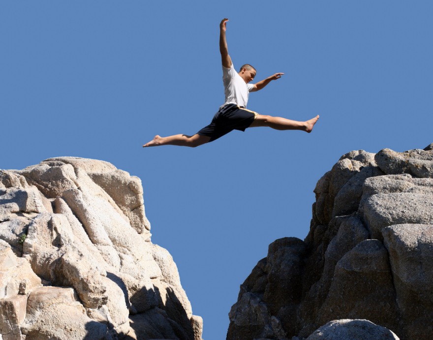 Courage Risks Rewards leaping