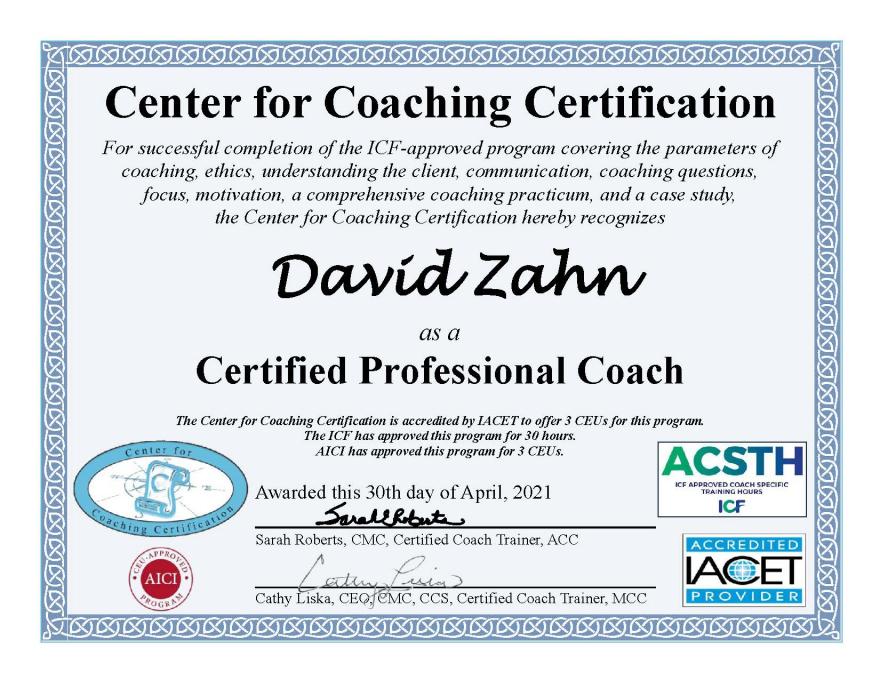 Professional Coaching Certificate